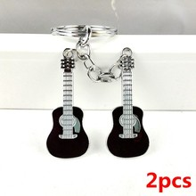 2pcs 2017 hot fashion unique cool cute metal guitar key chain ring keychain novelty creative trinket charm gift women men kids(China)