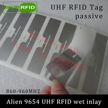 UHF RFID tag sticker Alien 9654 wet inlay 915mhz 900 868mhz 860-960MHZ Higgs3 EPCC1G2 6C smart adhesive passive RFID tags label