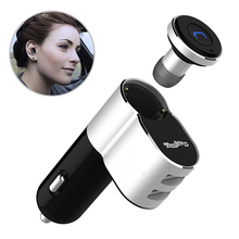 2 in 1 Mini Wireless Bluetooth V4.1 Earphone With Dual USB Port Car Charger Single Earpiece for iPhone 6 Plus Samsung Galaxy S6