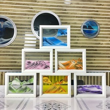 Colorful Moving Sand Glass Picture Photo Frame Sand Glass Home Desk Decoration Office Decor Ornament Birthday Gifts ZA2552