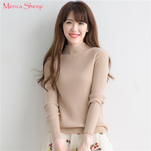 Menca Sheep Brand Women Sweater Winter Warm 100% Pure Cashmere Knitted Pullovers Girls Fashion Half-high neck Knitting Clothes(China)