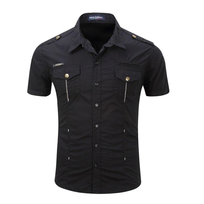 2018 New Men Cargo Shirt Casual 100% Cotton Man Solid Color Short Sleeve Shirts Work Shirt US Size S-XXXL (14)