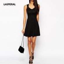 LASPERAL Women Beach Style Summer Mini Dress 2017 Women Sleeveless Sexy Tank T Shirt Dress Red Black Flare Casual Party Vestidos