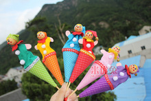 6pcs baby colorful telescopic stick doll puppets kid's clown wooden puppets children plush dolls girls and boys Free shipping