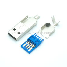 5PCS DIY USB 3.0 Male Connector USB Jack Soldering Type Line Tail Socket 3 in 1