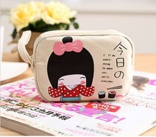 1PCS Cute Japanese Style Double Zipper Change Purse Canvas Women Girls Coin Purse Case Holder Beige 3 Colors 13*9 cm(China)