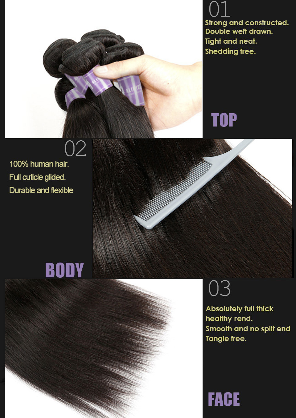 Indian Straight Hair Bundles Human Hair Weave Bundles Non-Remy Hair Extensions Alimice Hair Weaving Double Weft Natural Color (10)