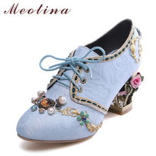 Meotina High Heel Women Shoes Pumps Retro Style Lace up Women Party Shoes Casual Thick High Heels Big Size 34-43 Chaussure Femme