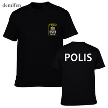 Novelty Malaysia Police Polis Special Swat Unit Force Mens T Shirts Short Sleeve Cotton T Shirt Tops Tees(China)