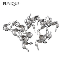FUNIQUE Stainless Steel Bead Buckles Bead Chain For Jewelry Making Accessories Supplies 7.7mmx7.4mm 50 PCs
