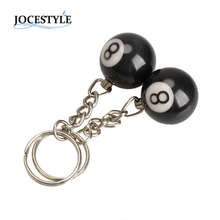 2 Pcs Billiard Pool Keychain Snooker Table Ball Key Ring Gift Lucky NO.8  Keychain 25mm