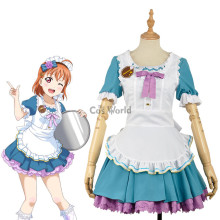 LoveLive!Sunshine!! Takami Chika Valentine's day Maid Apron Dress Uniform Outfit Anime Cosplay Costumes