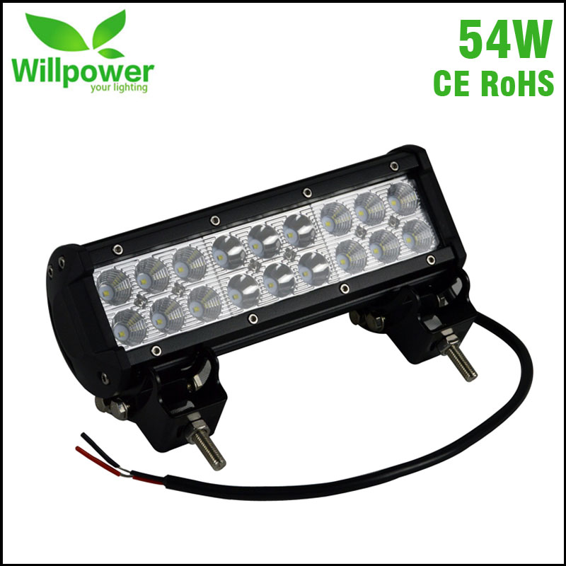 Spot beam dual rows 12v waterproof 9 54W off road driving car led light bar 24v<br>