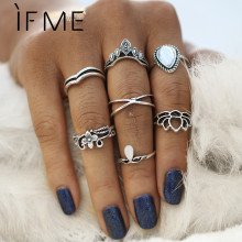 IF ME Vintage Knuckle Midi Rings Set for Women Antique Gold Color Hollow Lotus Flower Crown Opal Stone Rings Punk Style 7pcs/set