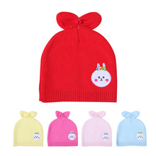 Rabbit Ears Baby Hat For Newborn Cartoon Pattern Solid Beanie Cotton Crochet Girls Hat Autumn Baby Tire Hat Baby Boys Clothing