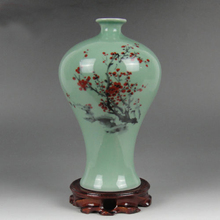 Elaborate Celadon Vase of Red Plum Made by China Jingdezhen(China)