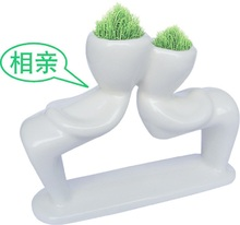 Lovers of white people planting grass mini plants Valentine's Day gift ideas gift  porcelain dolls man