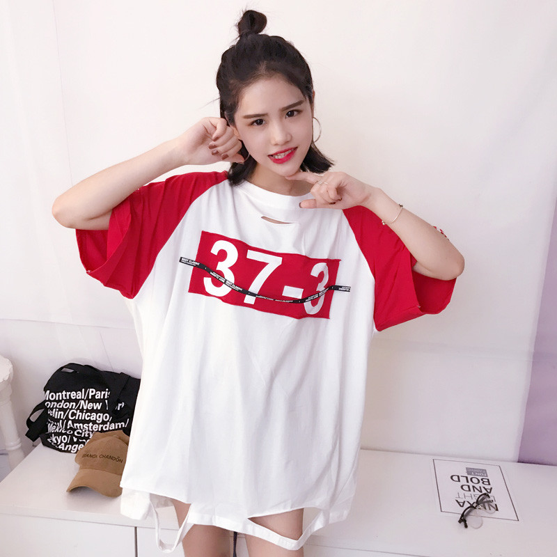 2017 Summer Loose Women Cotton T-shirt Holes Ribbon Patchwork Casual Tees O-Neck Plus Size Tshirt Woman Clothing Tops 4 Colors
