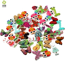 ShuanShuo Cartoon Printing Wooden Buttons Hand Printed DIY Jewelry Colorful Mixed Wood Buttons For Hat, Shoes, Clothes 50PCS/Bag(Hong Kong)