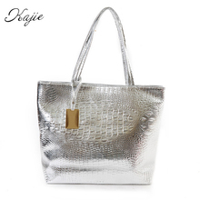 Kajie New Fashion Crocodile Women Shoulder Bags Silver Gold Black  Handbag PU Leather Female Large Tote Bag Ladies Hand Bags Sac