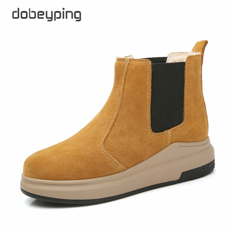 2017 New Womens Boots Plush Inside Winter Snow Shoes Ladies Keep Warm Female Ankle Botas Genuine Leather Casual Shoes Women<br>