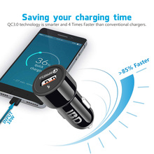 IBD USB 3.0 Car Phone Charger 18W With 1m Cable QC3.0 Quick Charge 3.0 Car Charger Mobile Phone Travel Adapter Cigar Car-charger(China)
