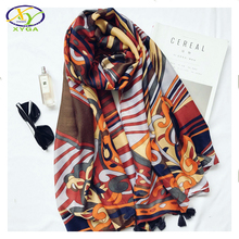 1PC  2017 New Design Ethnic Europe Style Soft Acrylic Cotton Women Big Size Long Scarf Woman New Cotton Viscose Pashminas