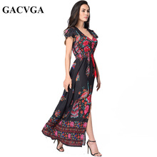Buy GACVGA Boho floral print chiffon split long dress Women beach summer v neck kimono sexy dress Eleagnt sash wrap maxi dresses for $17.50 in AliExpress store