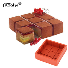 FILBAKE Square Cubic Lattice Shaped Wine Red Cake Mold Silicone Baking Mousse Dessert Decoration Tools(China)