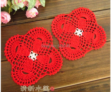 Handmade Crochet 12CM Square placemat flowers Wedding decoration butterfly Coasters Woven mat hollow Insulation pads ( 10PCS)