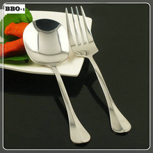 2pc Stainless steel Large Food Dinnerspoon and salad fork western restaurant service Soup Teaspoon and fork dinnerware