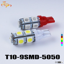 100pcs Wholesale T10 9SMD 5050 9 Smd 9Led Car 194 168 192 W5W LED Light Automobile Bulbs Lamp Wedge Interior Light DC12V(China)