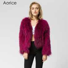 CR044-3 knit knitted Real raccoon fur coat jacket overcoat women's fashion winter warm genuine fur coat ourwear(China)