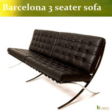 U-BEST high quality real leather barcelona  sofa ,barcelona leather sofa in 3 seater with polished stainless steel frame