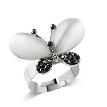 F&U Popular Korea Unique Design New Arrival Products Exquisite Fashion Silver Color Butterfly Rings for Women