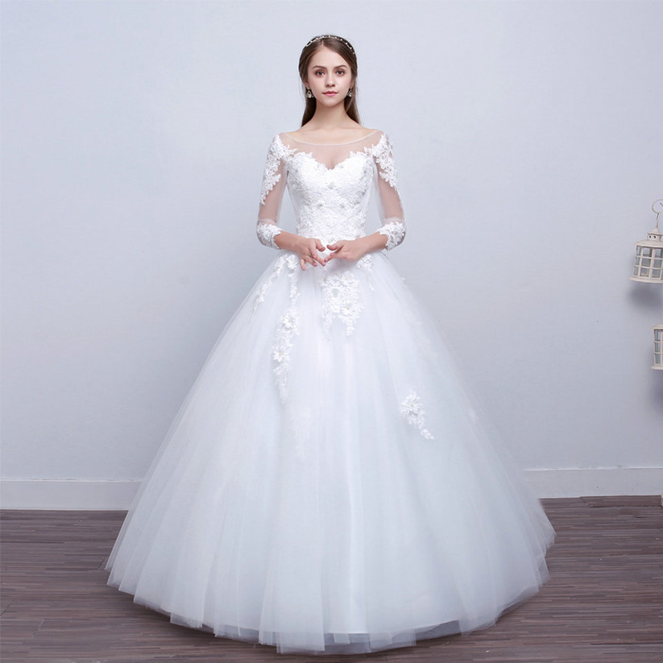 LAMYA Real Photo Princess Elegant Wedding Dresses With Long Lace Sleeve High Quality Ball Gown Bridal Gowns Vestidos De Noiva 7