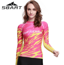 SBART New Long Sleeve Round Neck Womens Quick Dry Beach Shirts Swimwear Swimsuit Wetsuit Bathing Surfing Suits