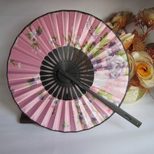 Cute Round Hand Held Fans Flower Fabric Bamboo Fans Holiday Wedding Shower Favor Hot Sale