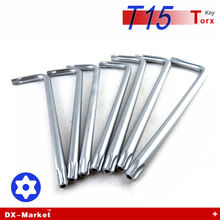 T15 torx , 20pcs , long arm torx wrench for Anti theft bolt , titanium plating alloy steel DIY tools , high hardness tool key(China)