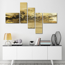 5 Panel Modern Canvas Wall Art Painting Gold Abstract Artwork Decorative Painting Graffiti Pics for Living Room Decor(China)