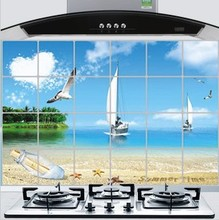 Brand New DIY Kitchen Anti-oil Oil-proof Wall Decals Sailing Boat Pattern 60*90cm Keep Cleaning Oil Easy Remove Sticker Paper