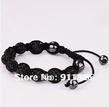 Low price! Black Shamballa Bracelet Instructions,With Micro Pave 9PC*10mm CZ Disco Ball beads, Friendship bracelet,Free Shipping(China)