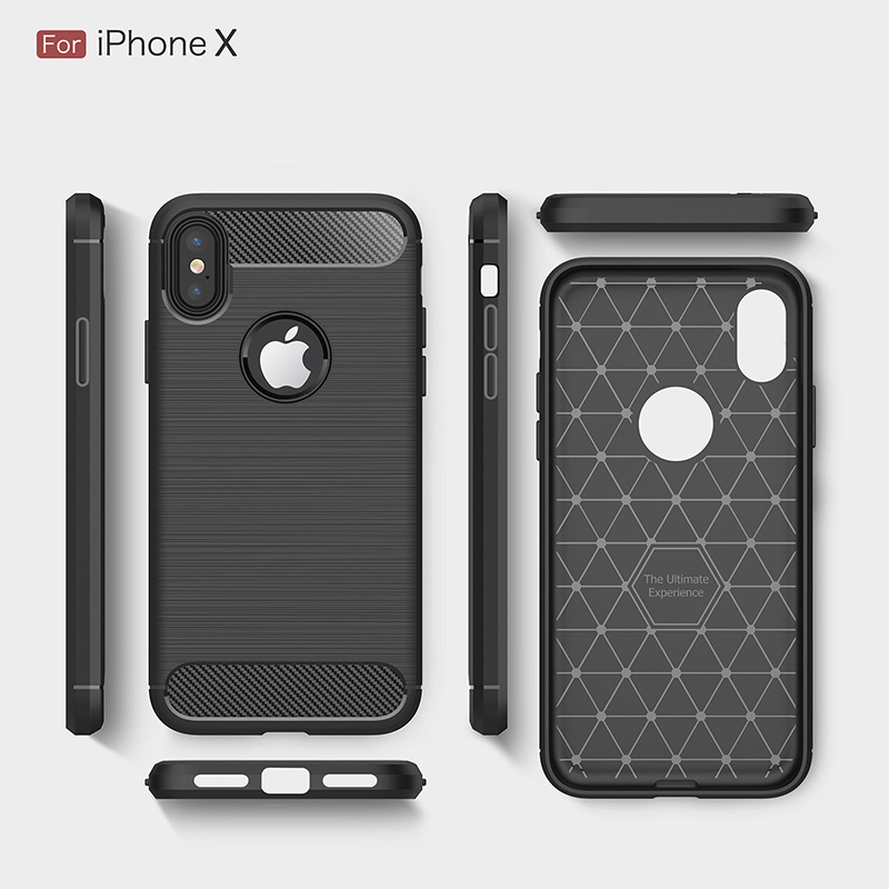 Carbon fiber brushed silicone case iphone x (9)