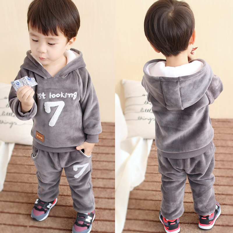 Childrens clothing male child autumn set 1 - 3 years old thickening 2017 plus velvet child baby clothes winter <br><br>Aliexpress