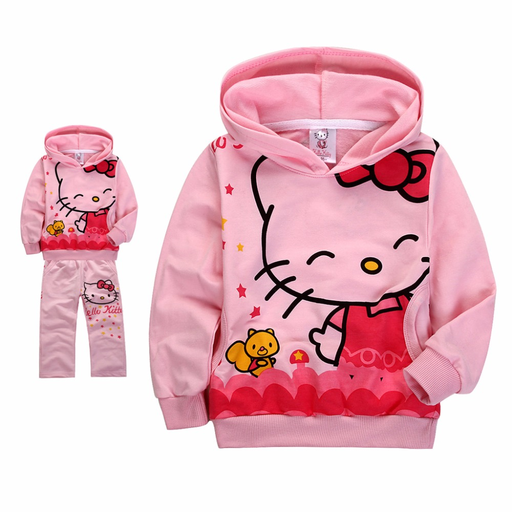 2017 Hello Kitty Girls Clothing Sets Pink White Kids Sports Suit Childrens Sportswear Hooded+Pants Kids Tracksuit sportswear<br><br>Aliexpress