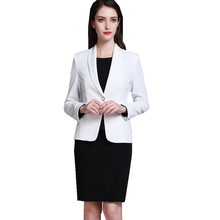 Buy Fmasuth Spring Women Suit Office Set White Blazer+Full Sleeve Black Dress 2 Pieces Business Ladies Work Uniform ow0437 for $69.99 in AliExpress store