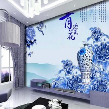 beibehang Custom large - scale murals Chinese style blue and white porcelain tiles classical TV background wall wallpaper(China)