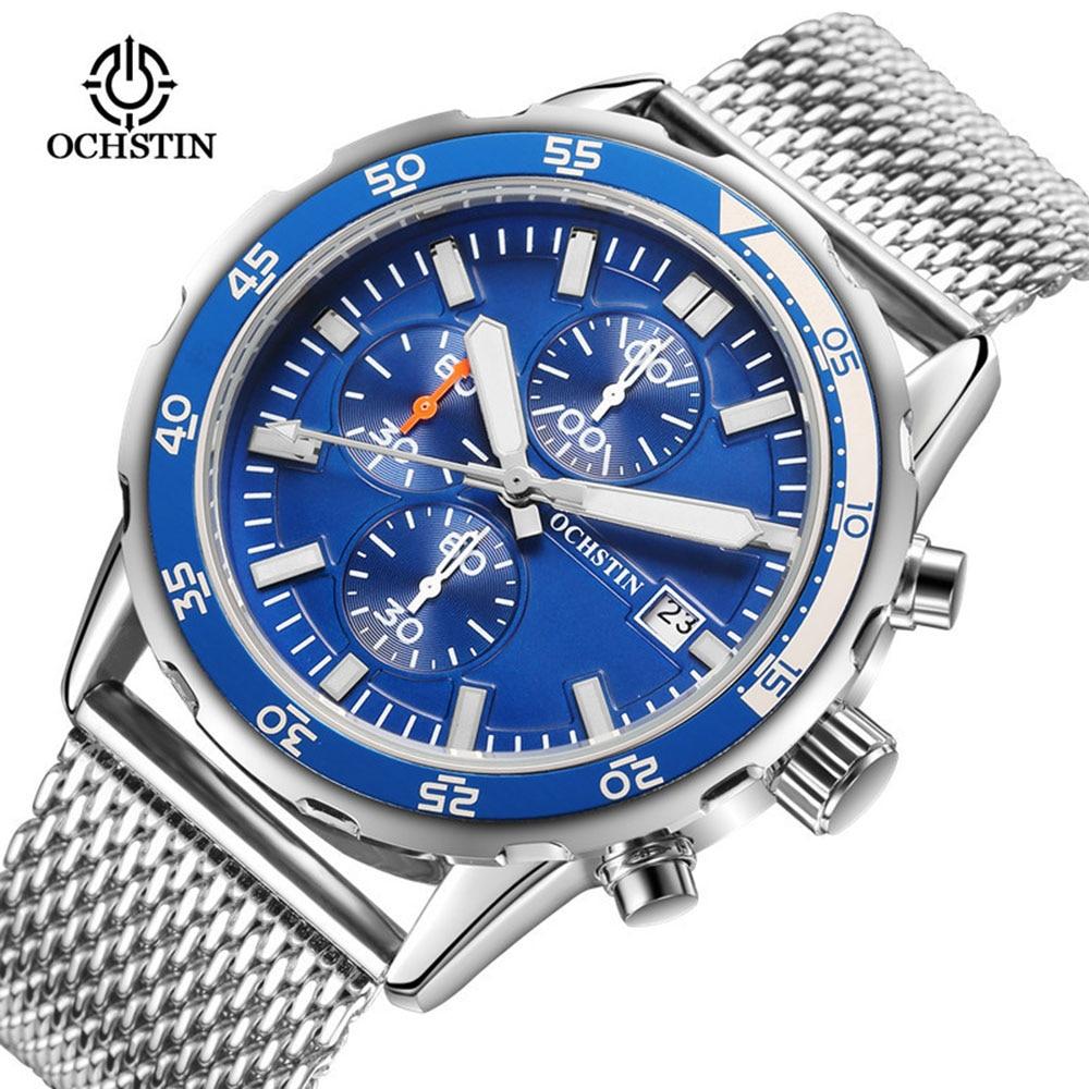 2017 Mens Watches Top Brand Luxury OCHSTIN Fashion Mens Steel Strap Blue Dial Quartz Watch Male Wristwatches relogio masculino <br>