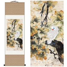 Chinese Silk watercolor bird Red mouth white parrot parasol tree leaf ink art canvas wall picture damask framed scroll painting