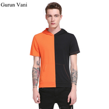 Buy Male Tops 2017 Hooded Hip Hop Short Sleeve T-shirt Summer Men's Shirt Color Patchwork Design Casual Fashion Tshirts for $10.38 in AliExpress store